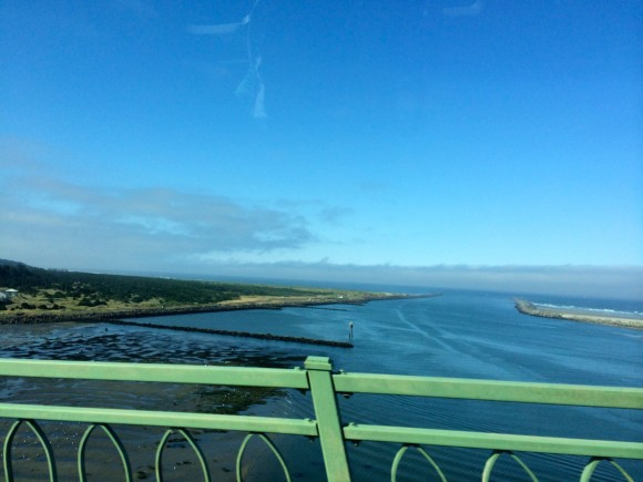 The view as we crossed the Yaquina Bay Bridge, an arch bridge that spans Yaquina Bay south of Newport, Oregon.