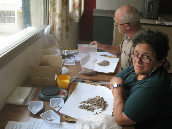 A'ndrea Elyse Messer doing archaeobotany. by Melissa Rosenzweig