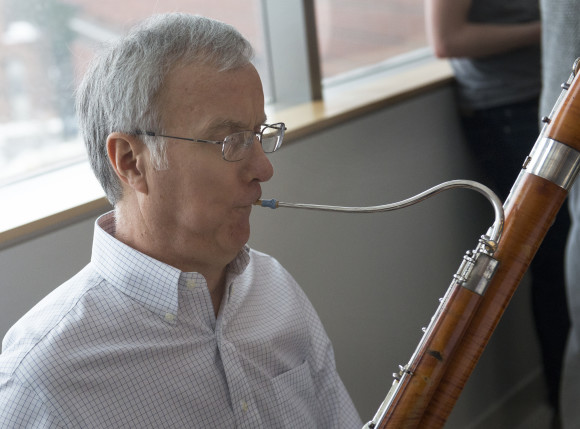 Daryl Durban playing the bassoon during a performance by the Pennsylvania Quintet at the Jan. 26 Millennium Cafe.