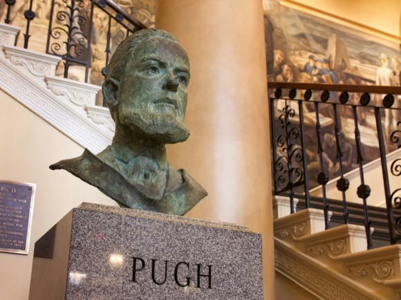 The spirit of researcher-President Evan Pugh lives on in the lobby of Old Main. Image: Patrick Mansell
